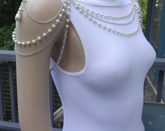 Multi Strand White or Ivory Pearl and Silver Chain Bridal Wedding Shoulder Necklace