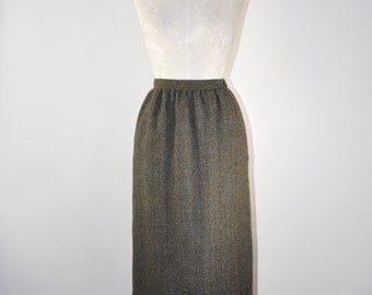 80s wool tweed skirt / 1980s gray pencil skirt / vintage high waist skirt