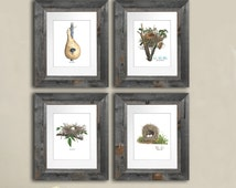 Easter Wall Art Bird Nest Prints Set of 4 Cottage Decor Spring Summer Decor Wall Art 8x10 Shabby Chic Neutral Dining Room Wall Decor