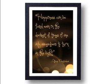 Harry Potter Poster Albus Dumbledore Happiness Turn on the Light, Harry Potter Poster, Harry Potter Art, Albus Dumbledore, Hogwarts