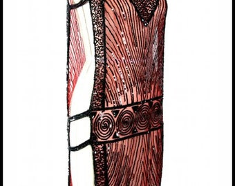 Black on Red 1920's MODERNIST Beaded Flapper Gatsby Tabard Gown by DecoHaus