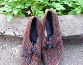 Very old 1960 hippie shoes, colorful, wood, straw, leather, with laces, small number