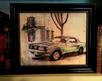 1967 Mustang: 8X10 Limited Edition Giclée print of an original mixed media composition.