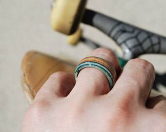 Recycled Skateboard Ring with Necklace Chain - Wood Ring Skateboard Jewelry Made from Broken Boards