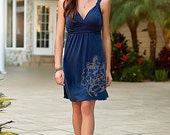 """Ego Girl Outfitter Women 'Must Have' Tank Casual Dress (Navy Blue), Summer Cream """"Nautical Floral Rope Anchor Hibiscus Flower"""""""