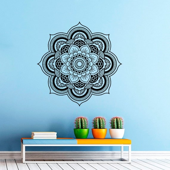 Wall decal mandala decals indian pattern vinyl by cozydecal for Mural mandala