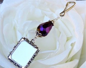 Wedding bouquet photo charm w/ purple crystal teardrop. Bridal bouquet charm. Gift for the bride. Gift for her. Memorial photo charm.