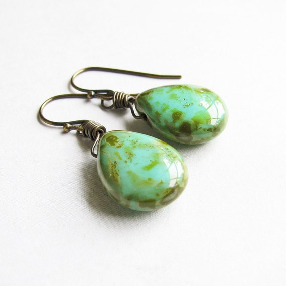 sea green earrings blue green teardrop earrings antiqued