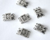 6 1960s Silver Art Deco Filligree Vintage Push Clasps// 3 Strand// New Old Stock// 6 Pieces