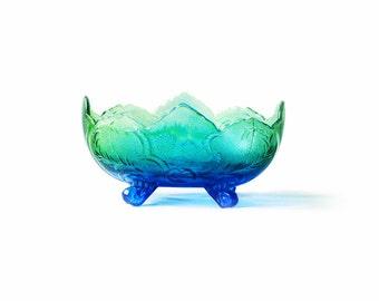 Vintage Glass Bowl |  Green Blue Ombre | Large