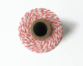 Coral Bakers Twine - Divine Twine - Peachy Pink & White Striped - Craft - Invitation Wrapping String - Packaging - 240 Yards Full Spool Cord