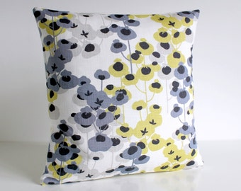 16 Inch Pillow Cover, Premium Pillow Cover, 16x16 Cushion Cover, Pillow Case, Flowers, Pillow Covers - Delicate Flowers Pale Yellow