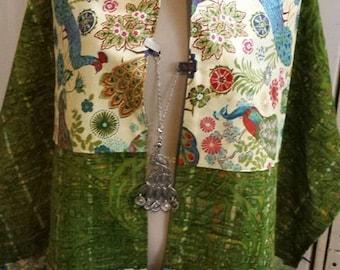 CREATION ROSH HASHANNA Green Batik Peacock 100% Cotton Tallis