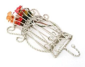Vintage Wall Pocket | Metal Hanging Planter | Wall Basket, Hanging Basket | Wall Rack | Twisted Wire Basket