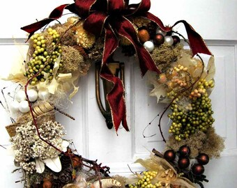 Elegant winter woodland wreath, Winter Solstice, natural dried flowers, pods, cones, faux fruits & berries,  January wreath, French country