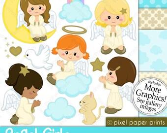 Angel Girls - Digital paper and clip art set