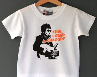 Time I Need A Changin' - Bob Dylan pun kids T-shirt 1-2 years. Cool kids first birthday gift. Folk rock toddler tee.