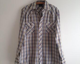 Vintage 70's Western Plaid Snap Button Shirt M