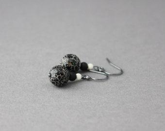 black earrings dangle earrings gemstone earrings crackle agate