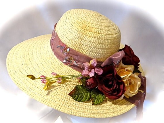 Burgundy & Cream Derby Hat Mother Of The Bride By