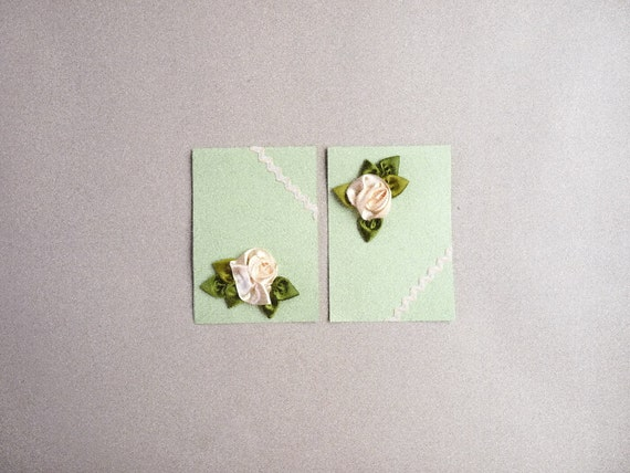 Pale yellow roses ribbon work greeting cards : set of 2