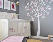 Tree Wall Decals -  Rose Tree from Apartment Therapy - White Grey Pink Nursery for Baby Girl - Owl Bedding and Mobile - Gray Nursery