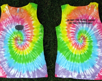 Black Sheep Tie-Dyed Ribbed Tank Top for Women