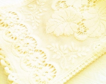 Vintage Shabby Chic Cafe au Lait Heirloom Lace Curtain Panels, Set of Four, Romantic Home, Olives and Doves