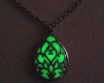 Yellow Teardrop Necklace Glowing Necklace Glowing Jewelry Antique Silver (glows greenish yellow)
