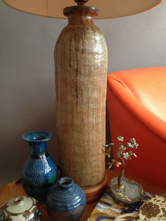 Vintage Hand Thrown Brutalist Incised Pottery By