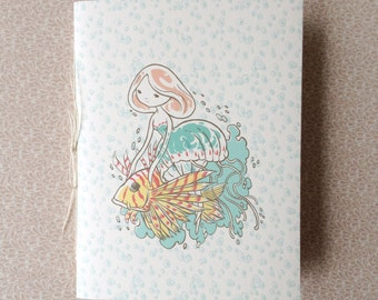 "Small Handbound Journal - ""Jellyfish Girl and her Noble Steed"" - pocket saddle stitch notebook"
