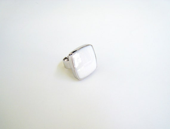 White resin ring, white glass ring, greek summer white ring, modern bridal jewelry, big chunky square ring, modern minimalist