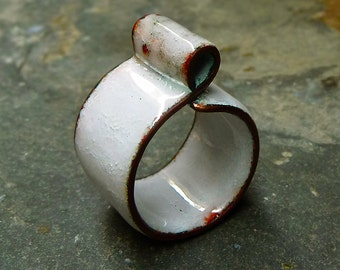White Opal Enamel on Copper Ring. Glossy Textured