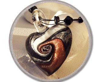 BLACK LAMPWORK HEART necklace - glass heart pendant - Jewelry Necklace Glass - short romantic necklace elegant bijouterie  Valentine's gift
