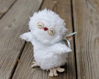 Handmade White Owl Toy -Tati Owl -Baby Owl -Stuffed Animal-Owl Toy-Made to order