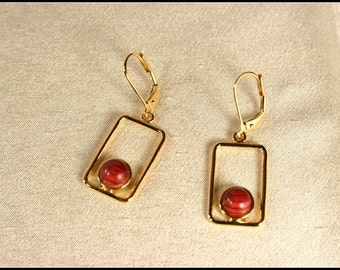 Rectangle dangle earrings with rosewood, Gold earrings for sale, Gold rectangle earrings dangle leverback earrings, Light unique, Wood gifts