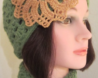 Cloche - Woman's Flapper Style olive green embellished with a golden flower motif with a center golden scroll button. Elegant & Trendy Gift!