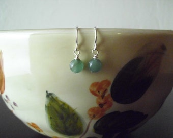 Sterling silver and green aventurine earrings; tiny aventurine earrings; small drop earrings; simple, everyday earrings