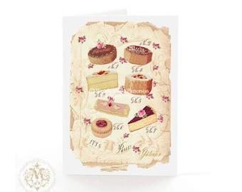 French pattisserie, cake card, Birthday card, vintage cake, illustration, Let them eat cake, Marie Antoinette, high tea card, tea party card