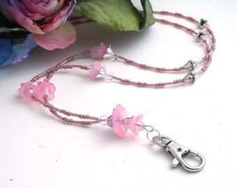 Pink Beaded Lanyard with Breakaway Clasp, Pink Lucite Flowers , Pink Crystals and Silver