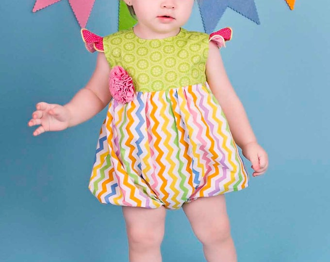 Baby Girl Bubble Romper - Pink Outfit - Newborn Clothes - Shower Gift - 1st Birthday - Chevrons - Newborn to 18 months