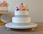 14 inch Wedding Cake Stand Cupcake Bling White Cake Stand Silver Wedding Decor E. Isabella Designs  Featured In Martha Stewart Weddings