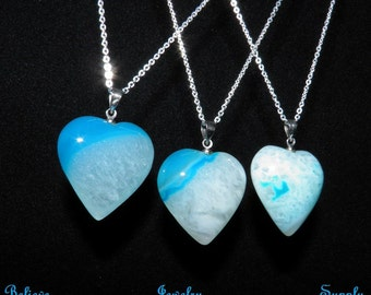 Shop Closing Clearance Sale DRUZY AGATE Necklace Heart Necklace Blue Druzy Necklace Heart Pendant Sterling Silver Chain Druzy Heart Jewelry