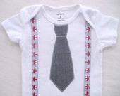 Gray Tie Bodysuit or Tee Shirt with Fox Suspenders