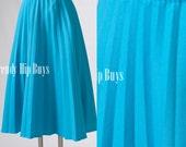 Vintage skirt, 70s Blue skirt, Vintage Turquoise skirt, VIntage pleated skirt, Midi Skirt, Aline skirt  - M/L/XL