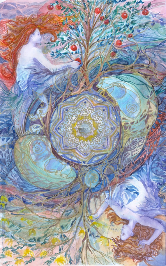 4 Elements Of Art : Four elements watercolour print sacred geometry art earth