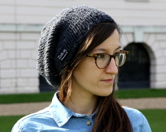 Slouchy Hat  Womens Hat Slouchy Beanie Hand Knit Hat Lightweight Chunky Hat Anthracite