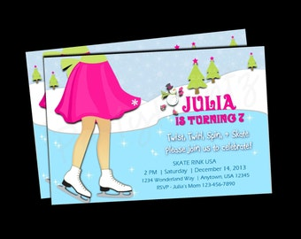 Printable Ice Skating Girl - Birthday Invitations - Personalized - Custom