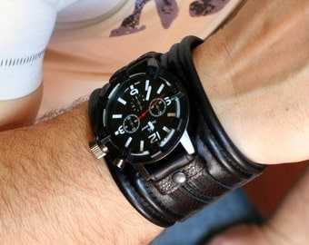 """Mens wrist watch bracelet """"Rover-3""""- Steampunk Watches - SALE - Worldwide Shipping - Gifts for him - Leather cuff wrist watch"""