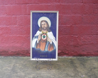 Sacred Heart of Jesus Painting on Fabric 1960's Wood Frame Oil Painting.
